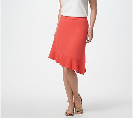 """As Is"" Isaac Mizrahi Live! Pebble Knit Asymmetric Hem Skort"