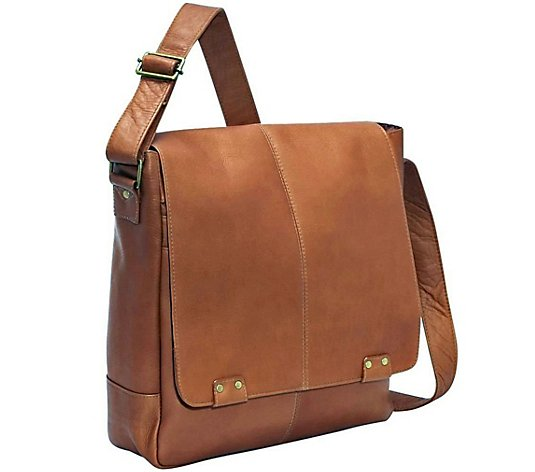 Le Donne Leather Rivet Laptop Messenger