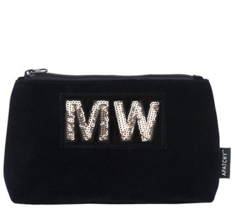 Apatchy London Personalized Small Pouch -Midnight Navy Velvet - A420238 7fc1dc297b