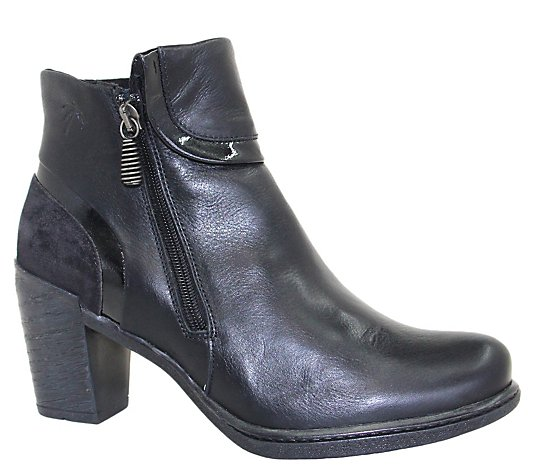 Dromedaris Leather Side Zip Ankle Boots - Ginger
