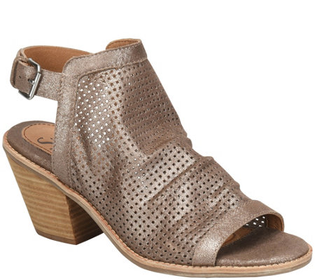 6f5fedc328a Sofft Slouchy Leather Heeled Sandals - Milly — QVC.com