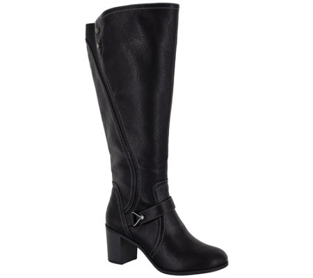 Easy Street Block Heel Wide-Calf Tall Boots - Format Plus