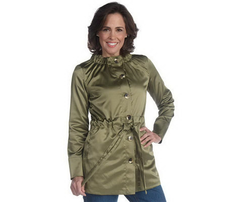 Liz Claiborne New York Belted Crew Neck Anorak Jacket