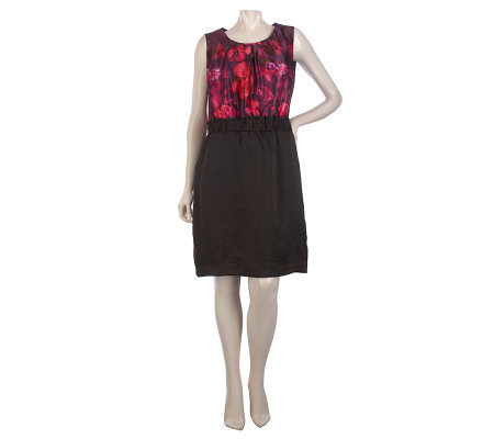 Kelly by Clinton Kelly Floral Print Dress with Ruched Waist