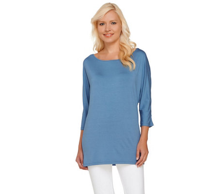 H by Halston Boatneck 3/4 Dolman Sleeve Knit Top