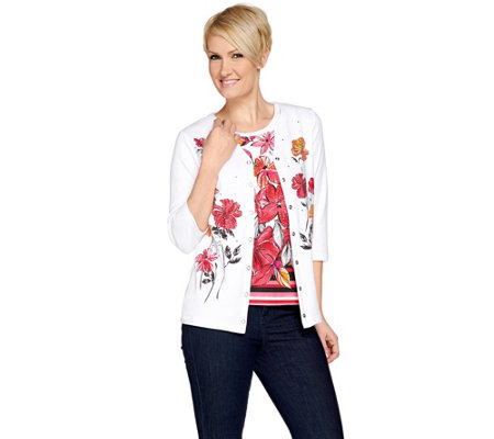 Quacker Factory Floral Print 3/4 Sleeve Knit Twinset