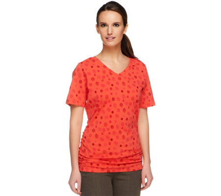 Denim & Co. Perfect Jersey Dot Print Top with Side Shirring