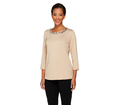Susan Graver Butterknit Embellished Scoop Neck 3/4 Sleeve Top