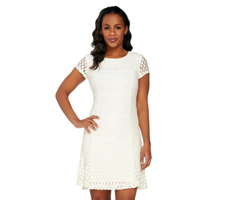 Isaac Mizrahi Live Mixed Lace Dress