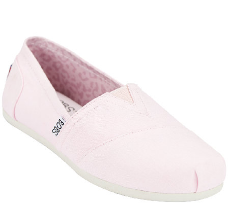 Skechers Bobs Slip On Canvas Sneakers With Memory Foam Plush