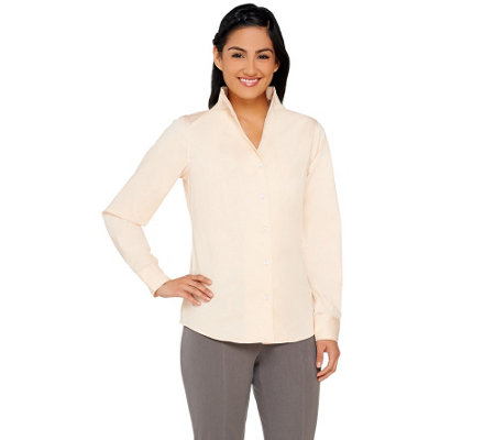 G.I.L.I. Long Sleeve Button Front Top with Funnel Neck