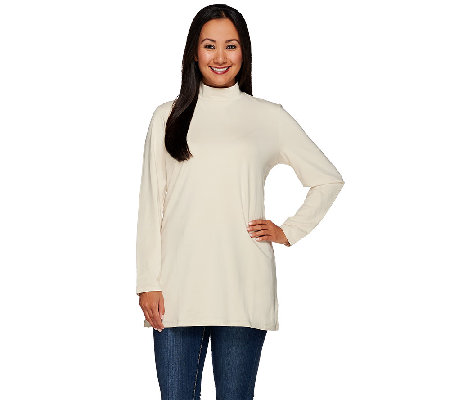 Denim & Co. Essentials Jersey Mock Neck Long Sleeve Tunic