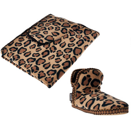MUK LUKS Leopard Fleece and Faux Fur Booties & Wrap Set