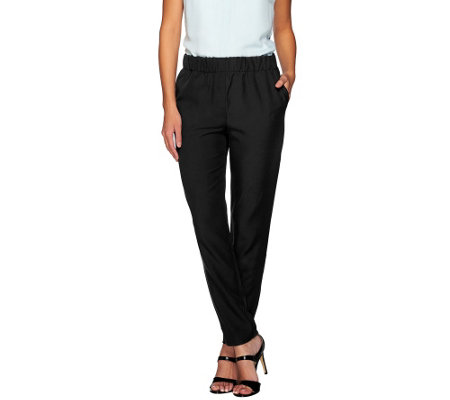 H by Halston Stretch Twill Pull-On Ankle Pants
