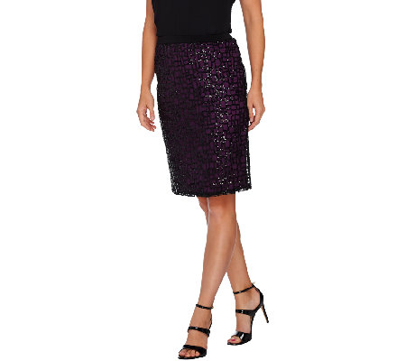 Bob Mackie's Pull-On Pencil Skirt with Sequin Overlay