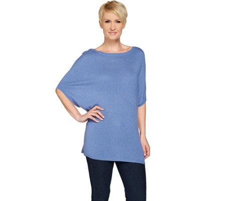 H by Halston Silk-Cashmere Blend Short Dolman Sleeve Sweater