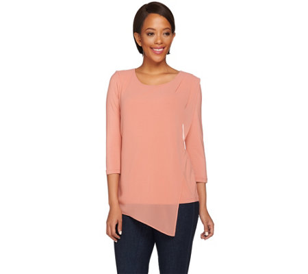 H by Halston Knit Top with Asymmetric Chiffon Overlay