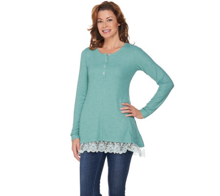 LOGO by Lori Goldstein Henley Waffle Knit Top with Lace Hem