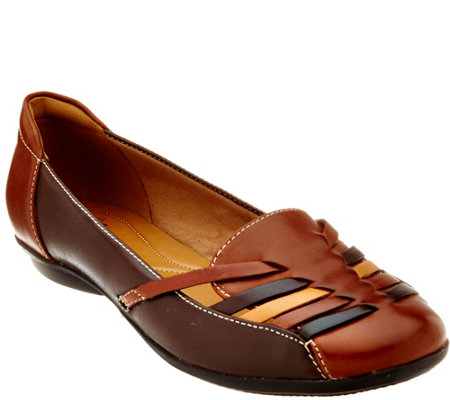 Clarks Leather Flats with Woven Detail - Gracelin Gemma