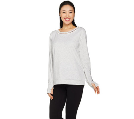 cee bee CHERYL BURKE French Terry Top with Lattice Trim