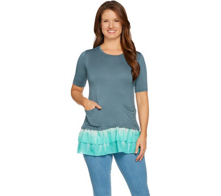 LOGO by Lori Goldstein Solid Top with Tie-Dye Woven Ruffle Hem