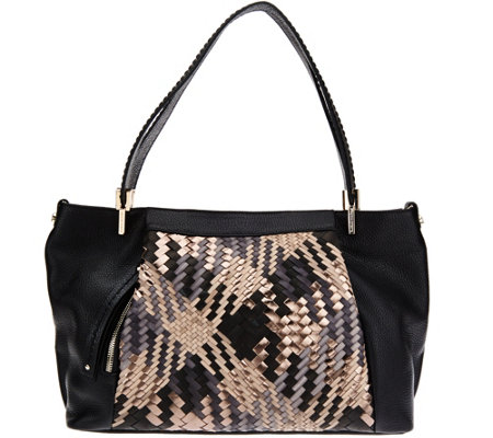 """As Is"" Plinio Visona Intreccio Italian Leather Woven Hobo"