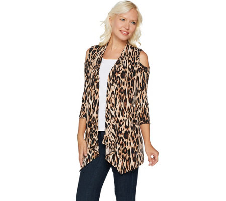 Susan Graver Printed Liquid Knit Cold Shoulder Cardigan
