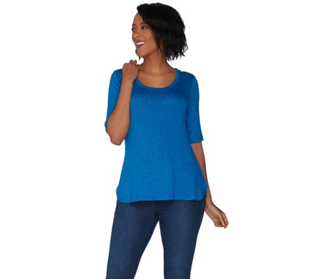 H by Halston Super Soft Knit Elbow Sleeve Top W/ Curved Hem