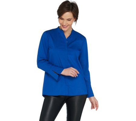 H by Halston Long Sleeve Stretch Poplin Button Front Shirt