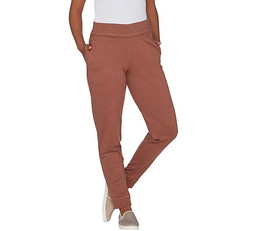 LOGO by Lori Goldstein French Terry Jogger Pant w/ Raw Edge Detail