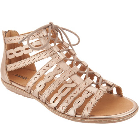 Earth Leather or Suede Lace Up Gladiator Sandals - Tidal