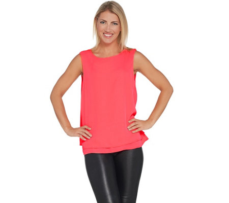 Joan Rivers Double Layer Crepe Tank with Split Back