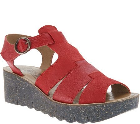 FLY London Leather Multi Strap Wedge Sandals - Yuni