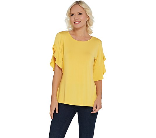H by Halston Flutter Sleeve Crew Neck Knit Top