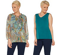 Susan Graver Printed Sheer Chiffon Peasant Top and Knit Tank Set - A308239