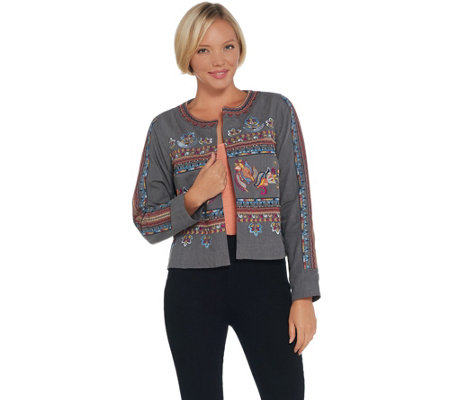Laurie Felt Embroidered Open Front Jacket
