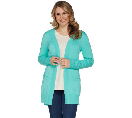 """As Is"" Isaac Mizrahi Live! Essentials Open Front Cardigan"