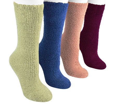 MUK LUKS Women's Micro Chenille Sock 4 Pair Pack