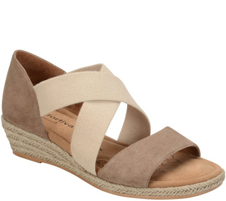Comfortiva Leather Wedge Sandals - Brye