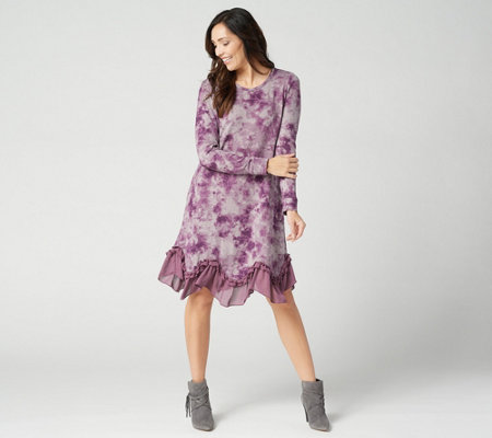 faceaf22fea LOGO by Lori Goldstein Sweater Knit Dress w  Ruffle Chiffon Hem ...