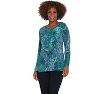 Susan Graver Printed Sweater Knit Peplum Tunic with Lurex - A344839