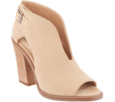 """As Is"" Vince Camuto Suede Front V-Cut Peep Toe Booties-Kalei"