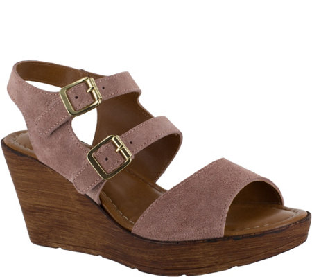 Bella Vita Leather Wedge Sandals - Ani-Italy