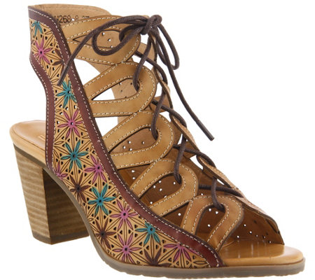 L'Artiste by Spring Step Leather Lace Up Sandals - Laure