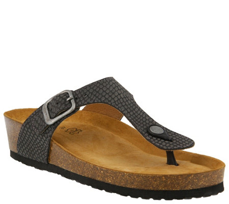 Spring Step Leather Thong Sandals - Estelle