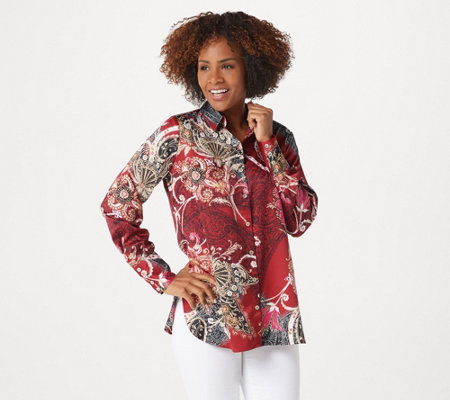 Susan Graver Printed Stretch Charmeuse Button Front Shirt