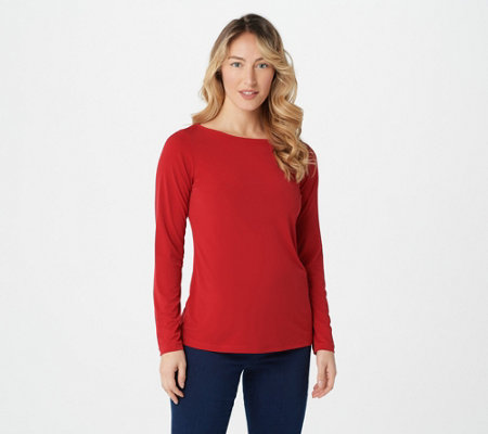 Susan Graver Modern Essentials Liquid Knit Bateau Neck Top