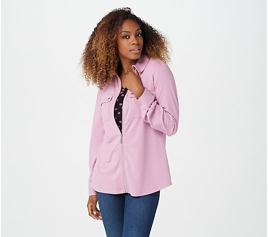 Belle by Kim Gravel TripleLuxe Knit Zip-Front Utility Shirt