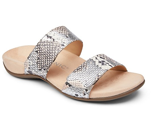 Vionic Leather Slide Sandals - Randi Snake