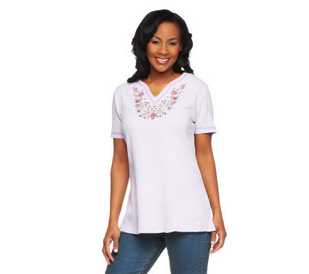 Denim & Co. Short Sleeve Embroidered Gauze Peasant Top